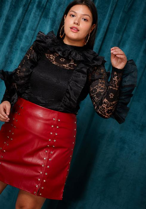 Asoph Plus Size PU Leather Mini Red Skirt