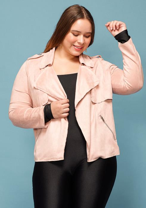 Asoph Plus Size Faux Suede Jacket