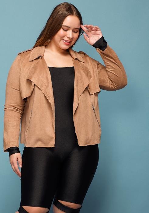 Asoph Plus Size Faux Suede Jacket