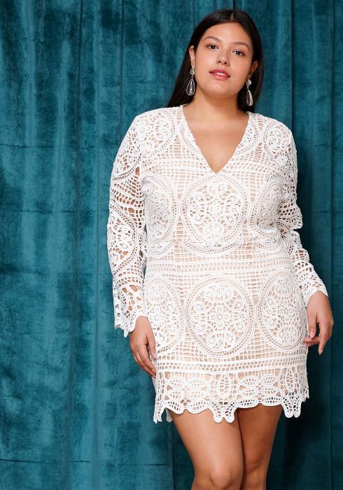 Asoph Plus Size Lace Trim V-Neck Mini Party Dress