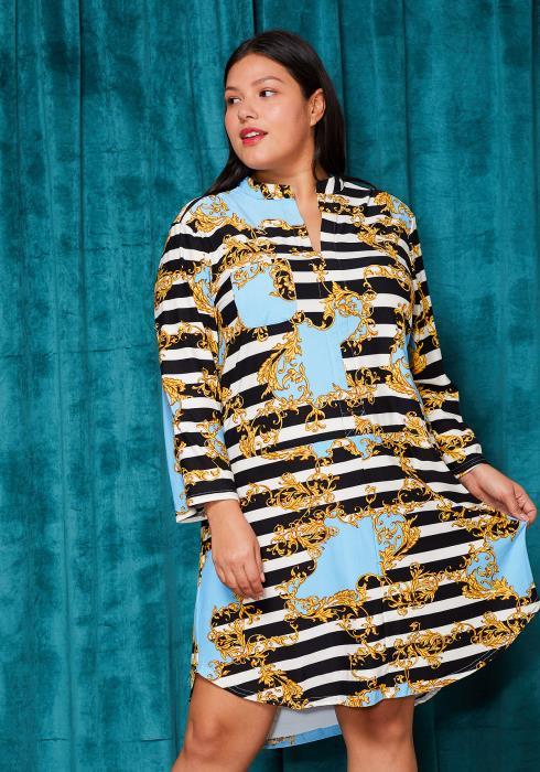 Asoph Plus Size Stripe Gold Midi Shirt Dress
