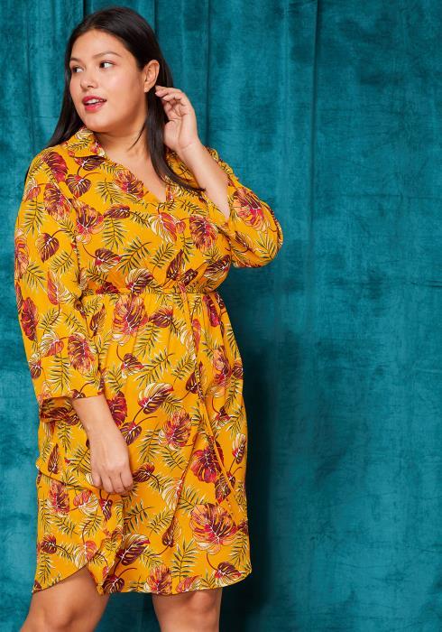 Asoph Plus Size Palm Leaves Elastic Waist Midi Dress