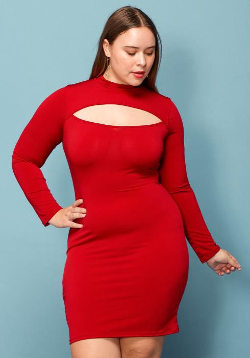 Asoph Plus Size Cutout Open Lace Up Back Bodycon Dress