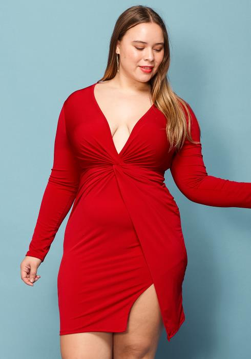 Asoph Plus Size Wrap Skirt V-Neck Dress