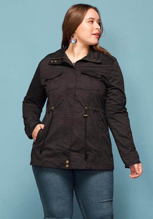 Asoph Plus Size Zip Up Drawstring Tie Waist Jacket