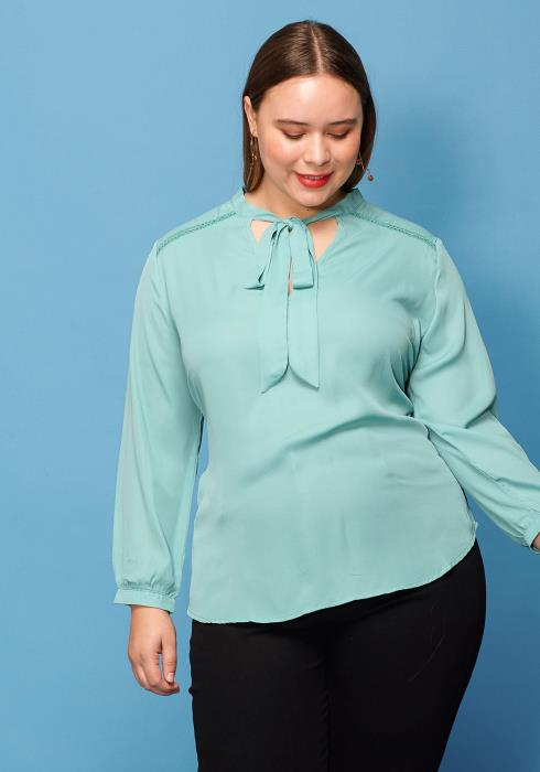 Asoph Plus Size Tie Neck Blouse