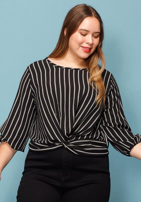 Asoph Plus Size Stripe Wrap Hem Top