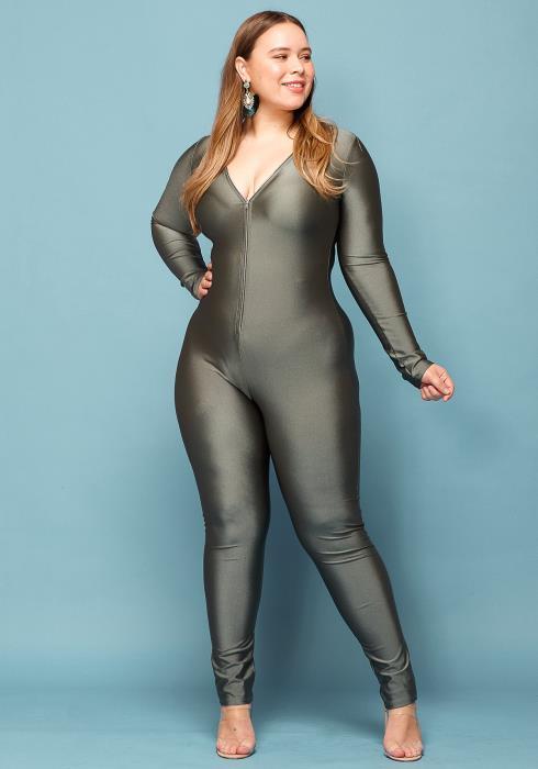 Asoph Plus Size Zip Up V-Neck Jumpsuit