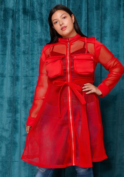 Asoph Plus Size Mesh Tie Waist Zip Up Dress