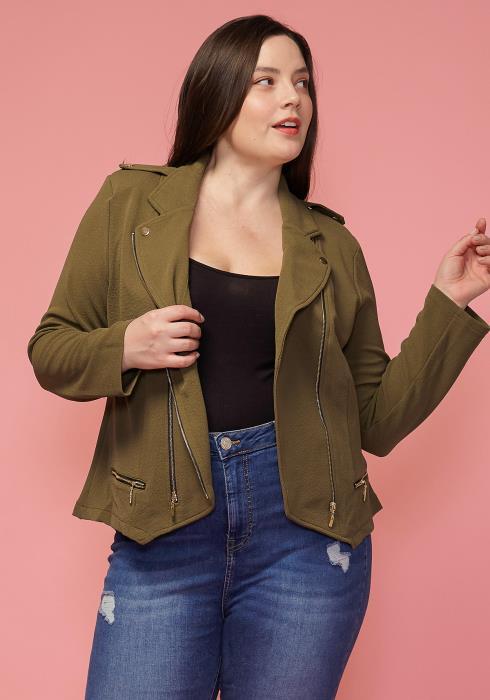 Asoph Plus Size Asymmetrical Zip Up Womens Jacket