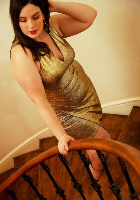 Asoph Plus Size V-neck Sleeveless Gold Party Dress