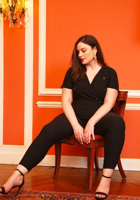 Asoph Plus Size V-Neck Button Front Short Sleeve Jumpsuit