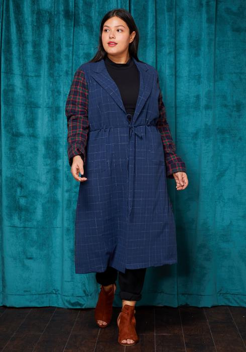 Asoph Plus Size Plaid & Solid Long Coat