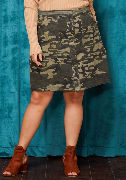 Asoph Plus Size Camo Print Button Up Skirt