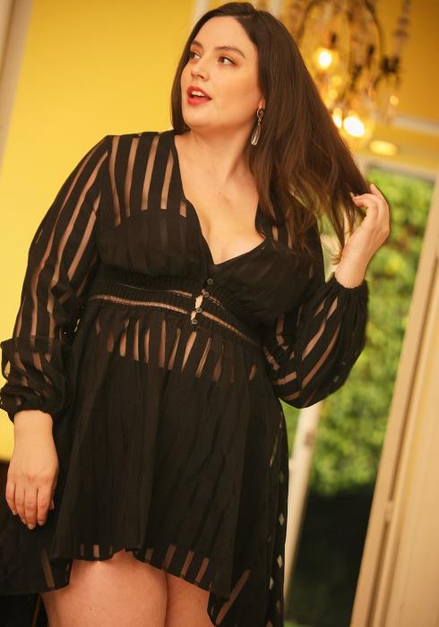 Asoph Plus Size Mesh Stripe Hi-Lo Dress