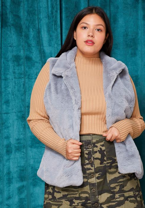 Asoph Plus Size Fur Hook & Eye Vest
