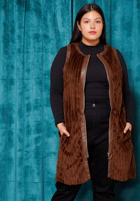 Asoph Plus Size Fur Zip Up Vest