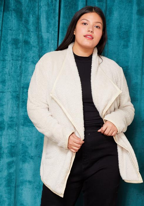 Asoph Plus Size Drape Collar Fur Cardigan