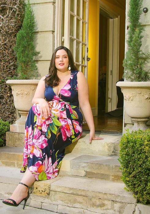 Asoph Plus Size V-Neck Sleeveless Floral Maxi Dress