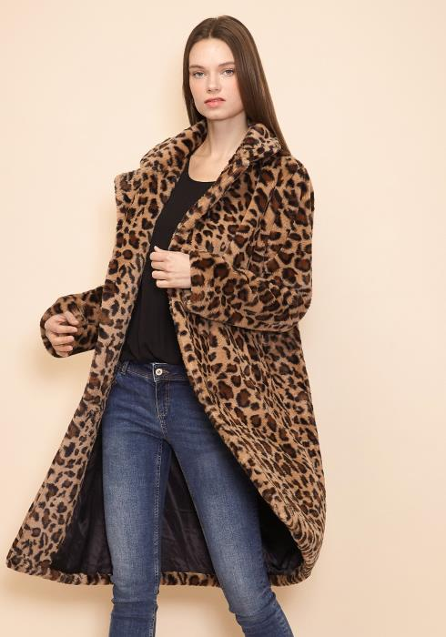 Pleione Womens Leopard Print Long Coat