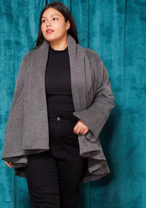 Asoph Plus Size Drape Collar Thick Cardigan