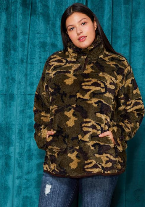Asoph Plus Size Camo Print Soft Fleece