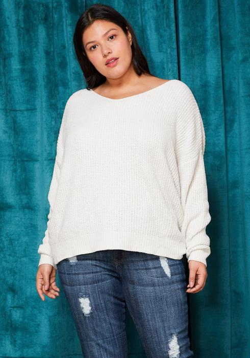 Asoph Plus Size Cross Twist Back Loose Sweater