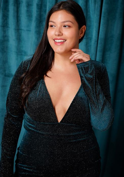 Asoph Plus Size Deep V-Neck Glitter Dress