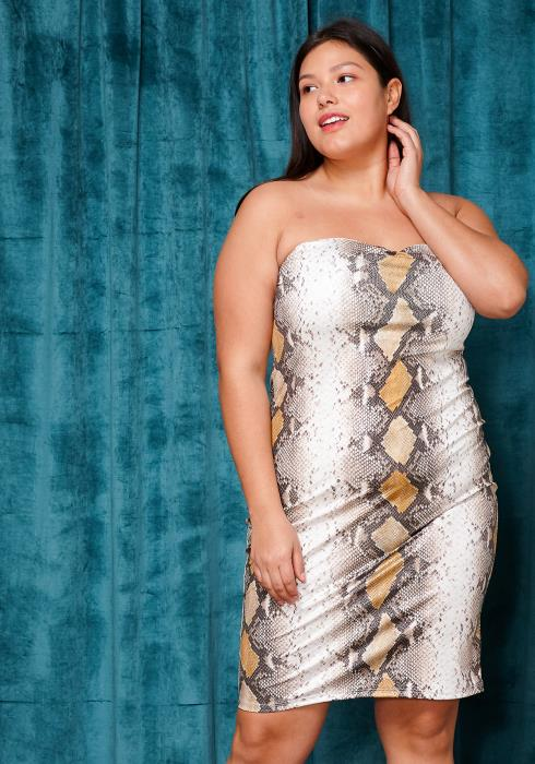 Asoph Plus Size Snake Print Tube Top Bodycon Dress