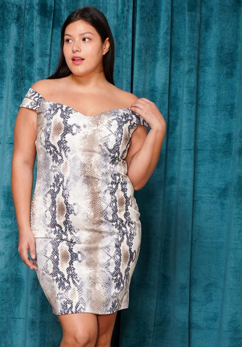 Asoph Plus Size Off Shoulder Snake Print Mini Dress