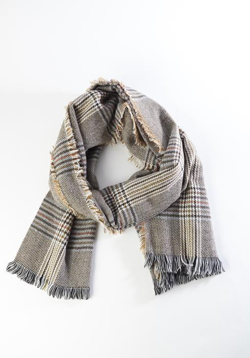Houndstooth Plaid Fringe Scarf