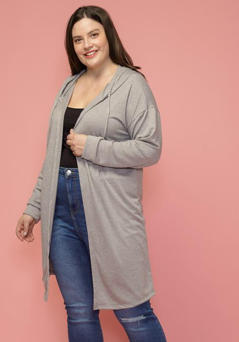 Asoph Plus Size Hooded Open Front Long Cardigan