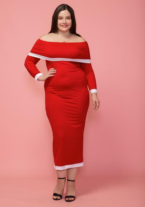 Asoph Plus Size Off Shoulder Maxi Bodycon Dress
