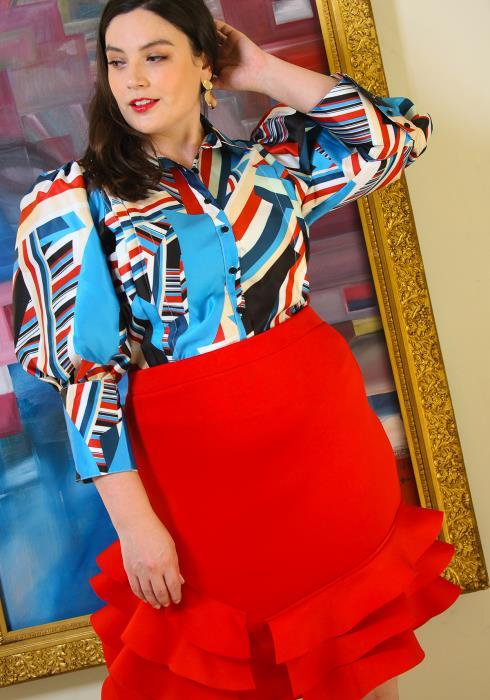 Asoph Plus Size Layered Ruffle Hem Skirt