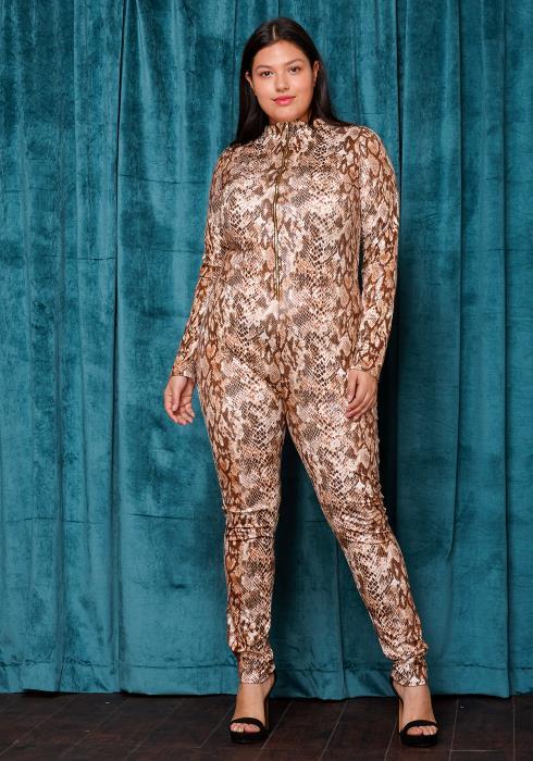 Asoph Plus Size Foiled Snake Print Mock Neck Jumpsuit