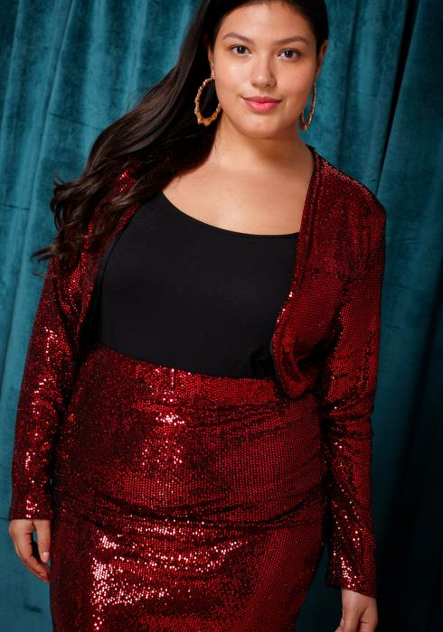 Asoph Plus Size Sequined Crop Blazer & Skirt Set