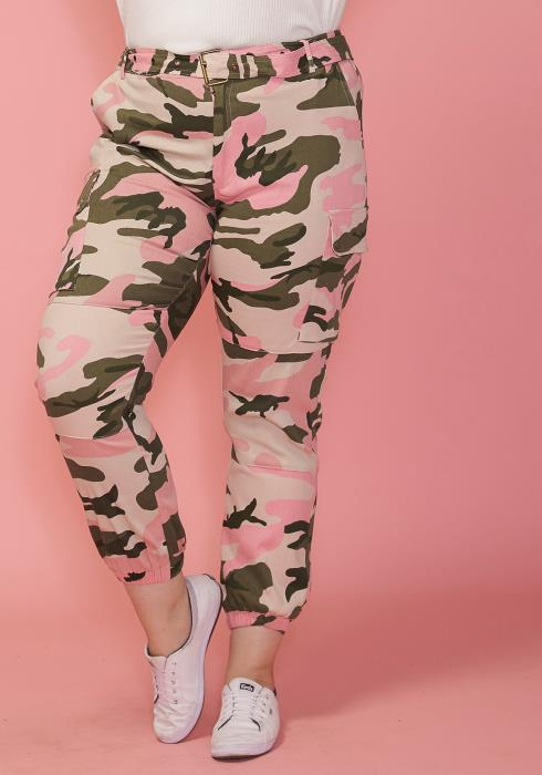 Asoph Plus Size Camo Print Pants With Belt