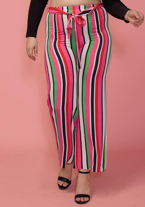 Asoph Plus Size Stripe Tie Waist Pants