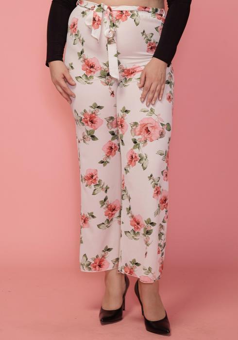Asoph Plus Size Floral Tie Waist Pants