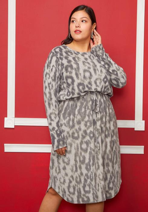 Asoph Plus Size Leopard Print Tie Waist Dress