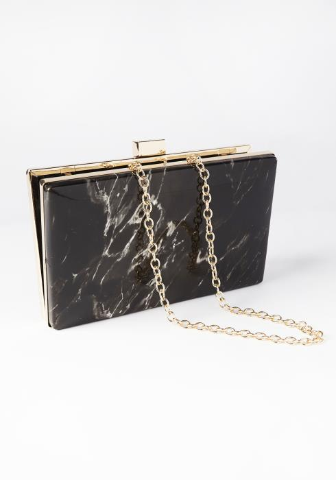 Everly Marble Clutch With Chain