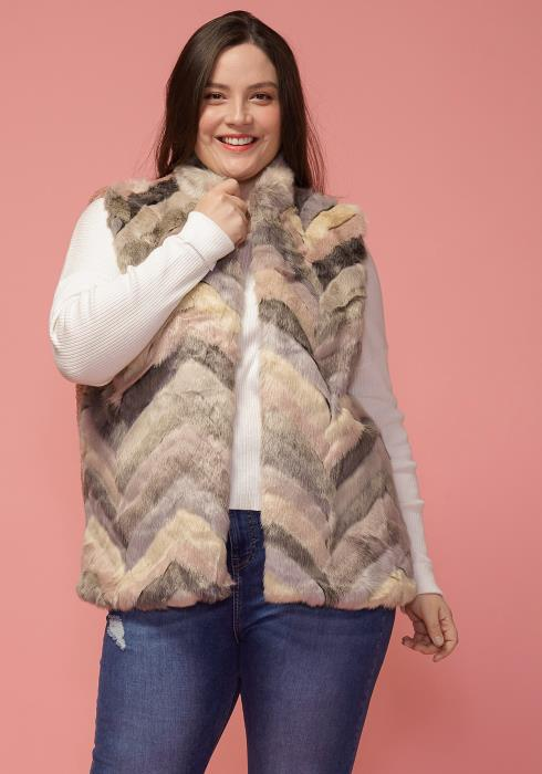 Asoph Plus Size Multi Color Fur Vest