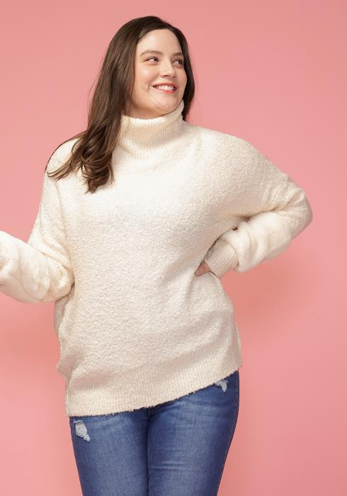 Asoph Plus Size Soft Fur Sleeve Accent Hoodie