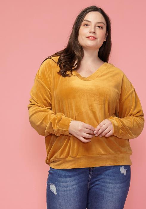 Asoph Plus Size Velvet V-Neck Sweatshirt