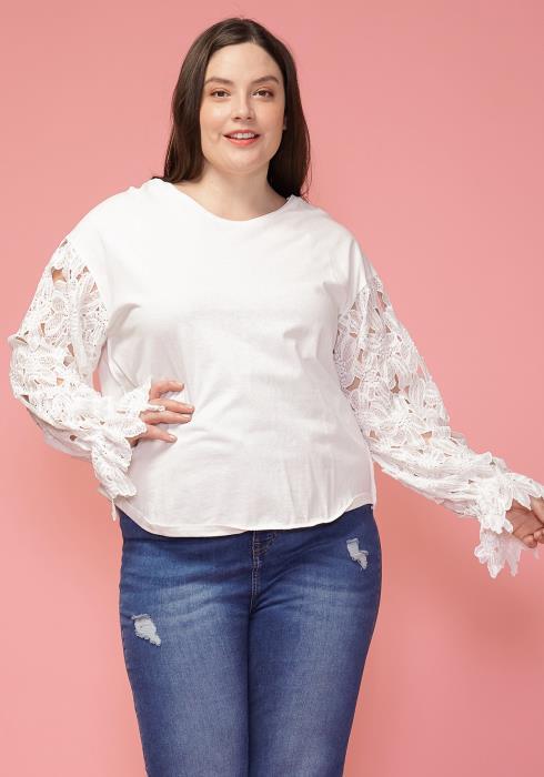 Asoph Plus Size Floral Lace Sleeve Crewneck Sweatshirt