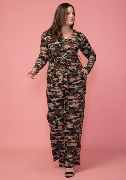 Asoph Plus Size Camo Print Tie Waist Jumpsuit