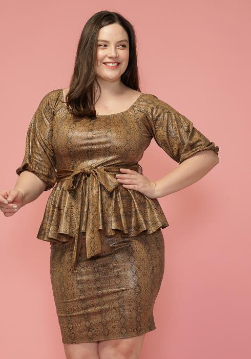Asoph Plus Size Tie Waist Printed Peplum Dress