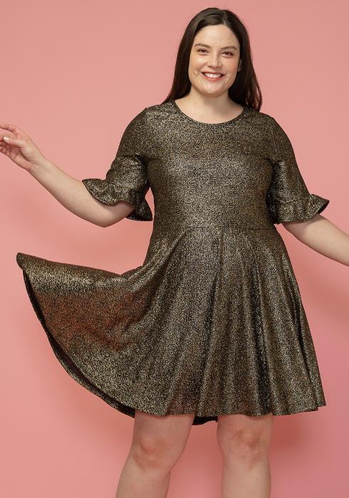 Asoph Plus Size Crewneck Bell Cuff Flared Dress