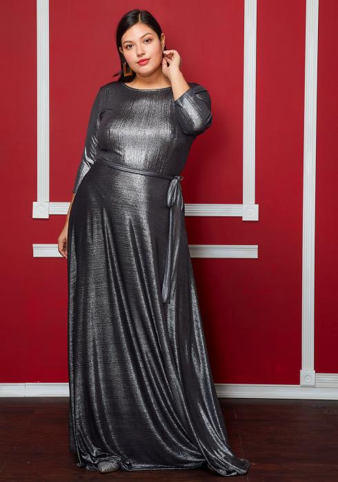 Asoph Plus Size Metallic Tie Waist Maxi Dress