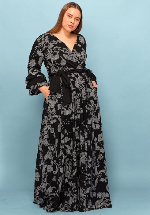 Asoph Plus Size Ruffle Sleeve Printed Wrap Maxi Dress
